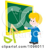 Blond School Boy Discussing A Geometry Diagram On A Chalk Board
