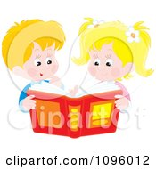 Clipart Happy Brother And Sister Looking Through A Story Book Or Photo Album Royalty Free Vector Illustration by Alex Bannykh