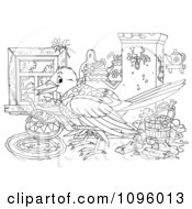 Clipart Outlined House Keeping Bird With A Messy Interior Royalty Free Illustration