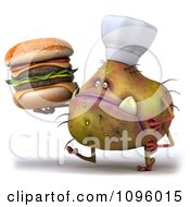 Clipart 3d Chef Monster Germ Walking With A Cheeseburger Royalty Free CGI Illustration by Julos