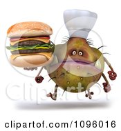 Clipart 3d Chef Monster Germ Running With A Cheeseburger Royalty Free CGI Illustration by Julos