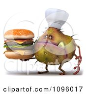 Clipart 3d Chef Monster Germ Holding A Cheeseburger Royalty Free CGI Illustration by Julos