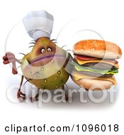 Clipart 3d Thumb Down Chef Monster Germ Holding A Cheeseburger Royalty Free CGI Illustration by Julos