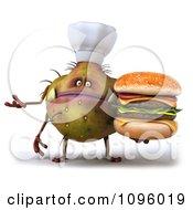 Clipart 3d Presenting Chef Monster Germ Holding A Cheeseburger Royalty Free CGI Illustration by Julos