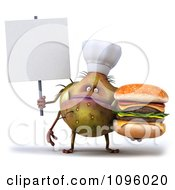 Clipart 3d Chef Monster Germ Holding A Cheeseburger And Sign 1 Royalty Free CGI Illustration