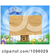 Clipart Blue Bird On Top Of A Blank Sign Over Easter Eggs In Grass Over A Blue Sky Royalty Free Vector Illustration