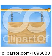 Clipart 3d Blank Wooden Sign Suspended From A Rod Against A Sky Royalty Free Vector Illustration