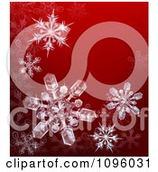 Clipart Crystalized Snowflakes On A Red Background Royalty Free Vector Illustration