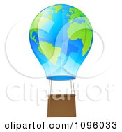 Clipart 3d Blue And Green Globe Hot Air Balloon Royalty Free Vector Illustration