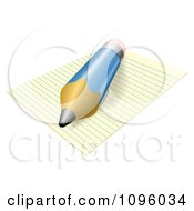 Clipart 3d Blue Pencil Resting On Ruled Paper Royalty Free Vector Illustration by AtStockIllustration