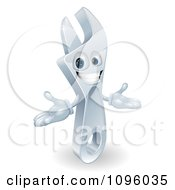 Clipart 3d Welcoming Spanner Wrench Character Royalty Free Vector Illustration