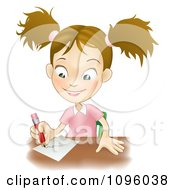 Clipart Happy School Girl Writing At Her Desk Royalty Free Vector Illustration