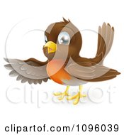 Clipart Friendly Robin Bird Presenting Or Pointing With His Wing Royalty Free Vector Illustration by AtStockIllustration