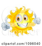 Clipart Happy Sun Character Smiling And Holding Two Thumbs Up Royalty Free Vector Illustration by AtStockIllustration