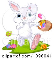 Clipart Cute Bunny Running With A Basket Of Easter Eggs Royalty Free Vector Illustration