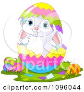Clipart Cute Easter Bunny Standing Inside A Split Egg Shell Royalty Free Vector Illustration