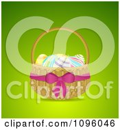 Clipart 3d Easter Egg Basket With A Pink Bow And Ribbon Royalty Free Vector Illustration