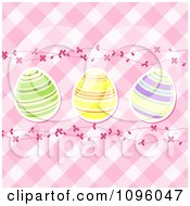 Clipart 3d Striped Easter Eggs And Floral Waves On Pink Gingham Royalty Free Vector Illustration