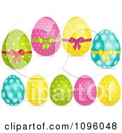 Clipart 3d Polka Dot And Floral Easter Eggs Royalty Free Vector Illustration