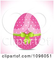 Clipart 3d Pink Polka Dot Easter Egg With A Green Bow Royalty Free Vector Illustration