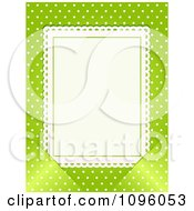 Clipart Blank White Card Inserted Into Slots Over Green With White Polka Dots Royalty Free Vector Illustration