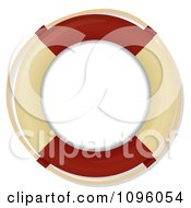 Clipart 3d Shiny Tan And Red Nautical Life Buoy Royalty Free Vector Illustration by elaineitalia