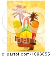 Clipart Blank Banner Around Popsicles And Palm Trees On Orange Grunge And Flares Royalty Free Vector Illustration by elaineitalia