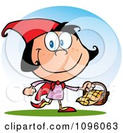Clipart Happy Red Riding Hood Walking With A Goodie Basket Royalty Free Vector Illustration by Hit Toon