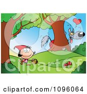 Clipart The Big Bad Wolf Spying On Red Riding Hood In The Woods Royalty Free Vector Illustration