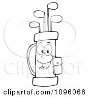 Clipart Outlined Happy Golf Bag Full Of Clubs Royalty Free Vector Illustration