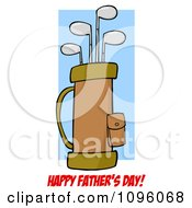 Clipart Happy Fathers Day Greeting And Golf Bag Full Of Clubs Royalty Free Vector Illustration by Hit Toon