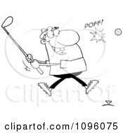 Clipart Outlined Man Hitting A Golf Ball Royalty Free Vector Illustration by Hit Toon