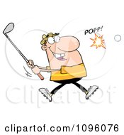 Clipart Caucasian Man Swinging At A Golf Ball Royalty Free Vector Illustration by Hit Toon