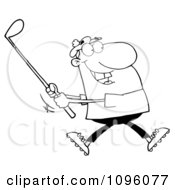 Clipart Outlined Man Swinging At A Golf Ball Royalty Free Vector Illustration by Hit Toon