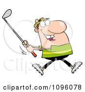 Clipart Caucasian Man Swinging A Golf Club Royalty Free Vector Illustration by Hit Toon