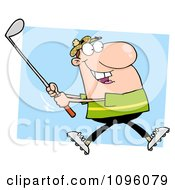 Clipart Caucasian Golfer Man Swinging A Club Royalty Free Vector Illustration by Hit Toon