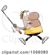Clipart Black Man Swinging A Golf Club Royalty Free Vector Illustration by Hit Toon