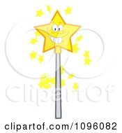 Clipart Happy Smiling Star Magic Wand Royalty Free Vector Illustration