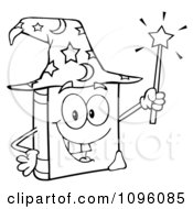 Clipart Outlined Happy Spell Book With A Wizard Hat And Magic Wand Royalty Free Vector Illustration by Hit Toon