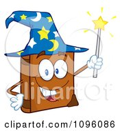 Clipart Happy Spell Book With A Wizard Hat And Magic Wand Royalty Free Vector Illustration by Hit Toon