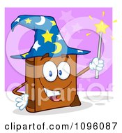 Clipart Smiling Spell Book With A Wizard Hat And Magic Wand Royalty Free Vector Illustration by Hit Toon