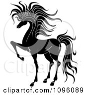 Clipart Elegant Black And White Prancing Foal Horse 2 Royalty Free Vector Illustration