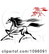 Clipart Black And White And Red Racing Horses Running Royalty Free Vector Illustration