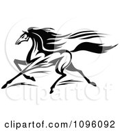 Clipart Black And White Racing Horse Running Royalty Free Vector Illustration