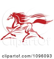 Clipart Red Racing Horse Running Royalty Free Vector Illustration