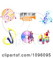 Clipart Music Notes Instruments And Cds Royalty Free Vector Illustration by Vector Tradition SM