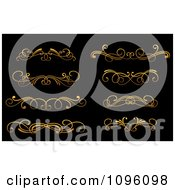 Clipart Golden Flourish Rule And Border Design Elements 12 Royalty Free Vector Illustration