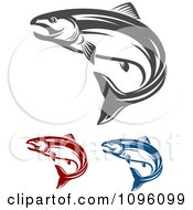 Clipart Red Blue And Gray Salmon Fish Jumping Royalty Free Vector Illustration