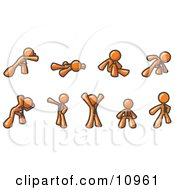 Orange Man Doing Different Exercises And Stretches In A Fitness Gym Clipart Illustration