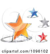 Clipart 3d Shiny Orange Blue Silver And Red Stars And Chrome Rings Royalty Free Vector Illustration
